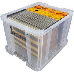 Műanyag tárolódoboz, átlátszó, A4 méretű papírok tárolására, 36 liter, ALLSTORE
