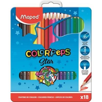 """Színes ceruza készlet, háromszögletű, fém doboz, MAPED """"Color`Peps"""", 18 különböző szín"""