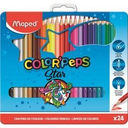 """Színes ceruza készlet, háromszögletű, fém doboz, MAPED """"Color`Peps"""", 24 különböző szín"""
