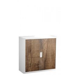 Szekrény, rolós ajtós, 2 polcos,PAPERFLOW, famintás