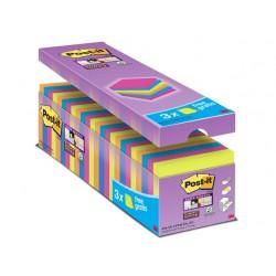 """Öntapadó jegyzettömb csomag, 76x76 mm, 24x90 lap, 3M POSTIT """"Super Sticky"""", vegyes"""