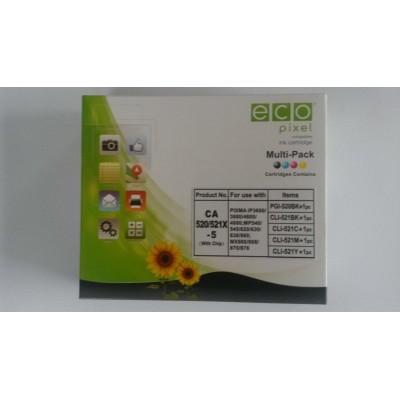 Utángyártott CANON CLI521 Multipack BKCMY 5 db-os (For Use) ECOPIXEL BR PGI520BK,CLI521BK,CLI521C,CLI521M,CLI521Y