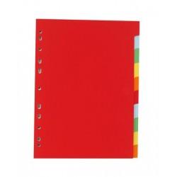 Regiszter, karton, A4, 10 részes, VICTORIA, színes
